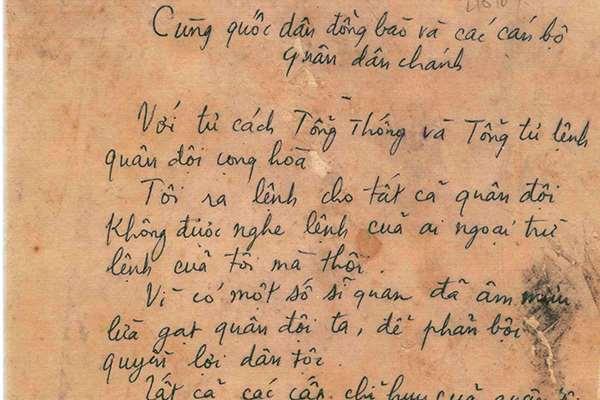 Mệnh lệnh viết tay của Ngô Đình Diệm